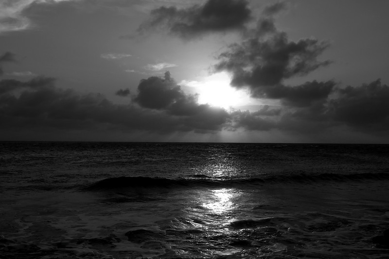 Sunset by Slave Huts (converted to B/W)