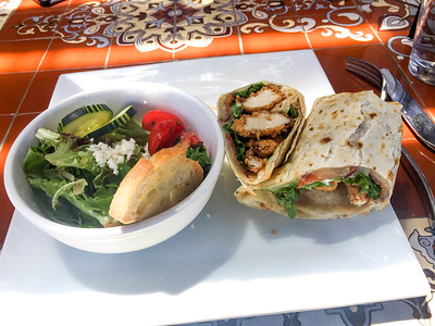 Chicken Wrap and side salad, Cliffside Restaurant, St. George, Utah