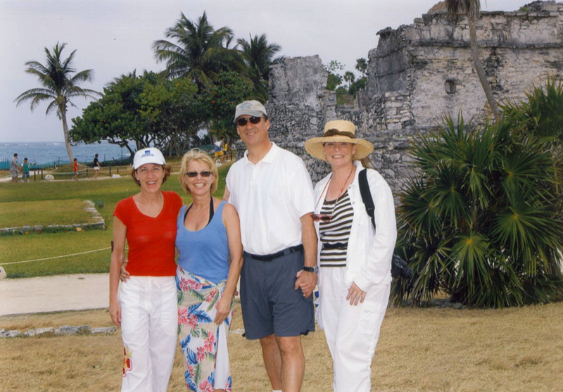 Tulum Mayan ruins, Saturday, with Aimee and Heather. HOT, HOT, HOT. I was hiding from more sunburn under the full coverup and hat.