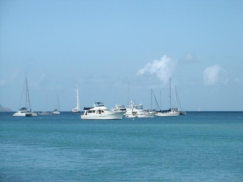 Yachts docked off Virgin Gorda.