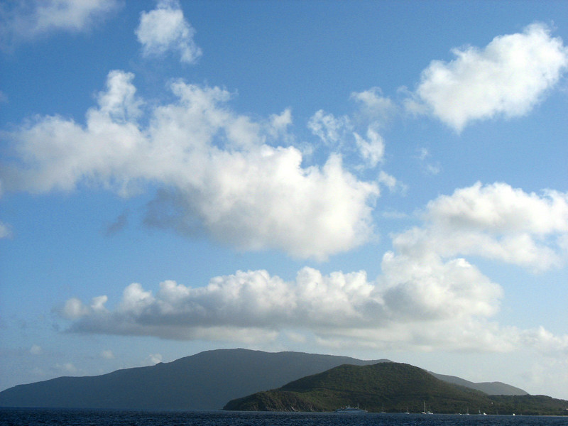 Approaching Virgin Gorda. Columbus thought she looked like a fat virgin lying on her hip, hence, her name.