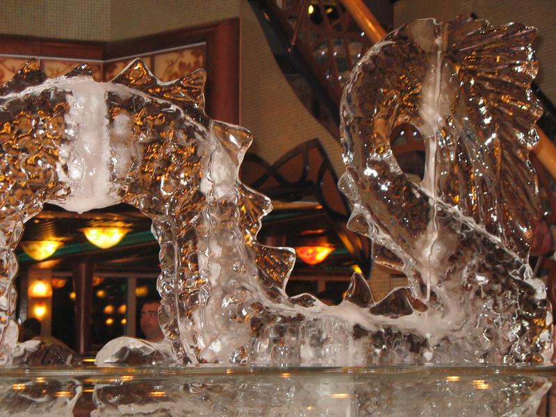 Midnight buffet ice sculptures.