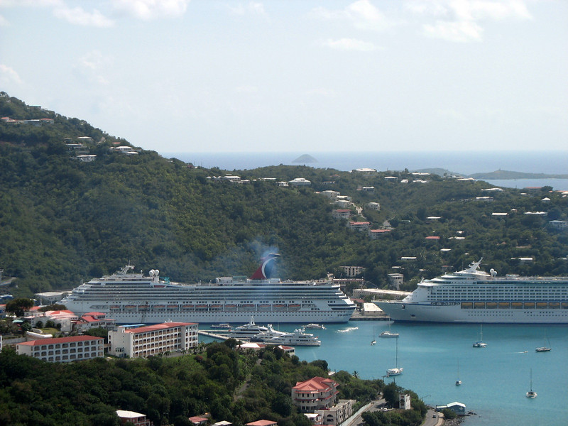 Cruise ships from above.