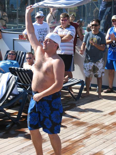 Men's hairy chest contestant.