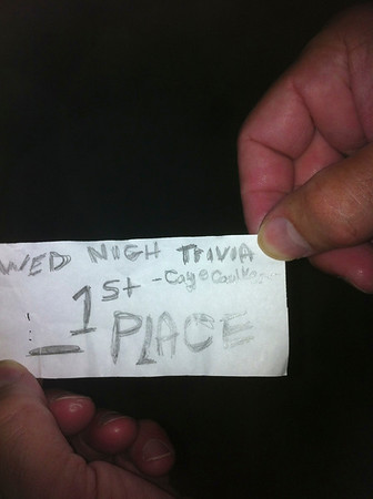 We won the bar trivia contest on Wednesday night