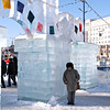 Susan bundled up at the ice fortress wall.