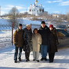 Outside our hotel with friends. The church in the background is new as all churches in Zlatoust were destroyed after the revolution.