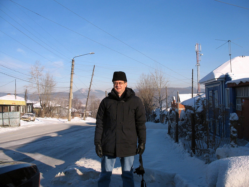 On the street in Zlatoust. Their famous mountain, Taganai, is in the background.