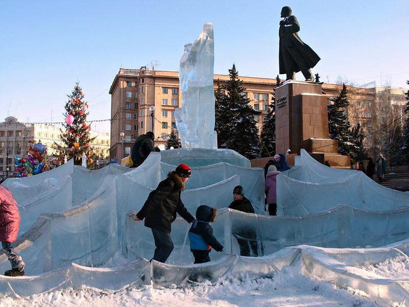 Ice maze under Lenin.