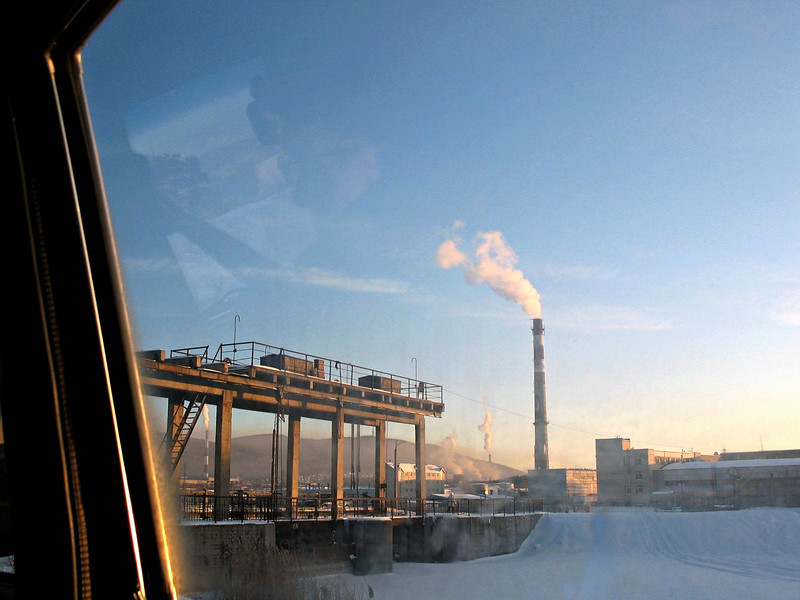Smokestacks. Leaving Chelyabinsk. The Mityaev Fund kindly provided us with a car & driver for the 3 hour drive to Zlatoust (and picked us up the next day).