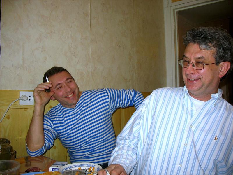 Having a laugh at Sergei's.