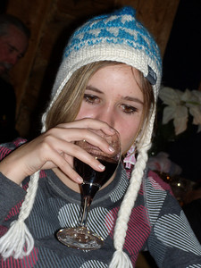 Audrey sniffing our wine