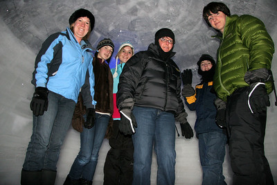 Debby, (little) Elaine, Audrey, (wise) Elaine, Jeremy, and Evan inside the interior igloo