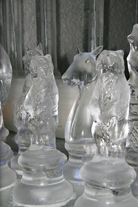 huge ice chess pieces