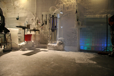 The workshop and tool area where the ice carvers work