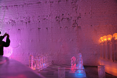 A large ice chess set