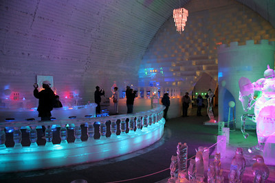 The bar area and, of note, all the chandeliers are completely made of ice!