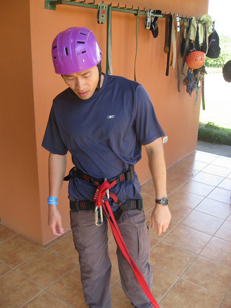 Huy geared up for the zip lines. The pictures in the folder were taken with my camera. More pictures taken by the photog in another folder.