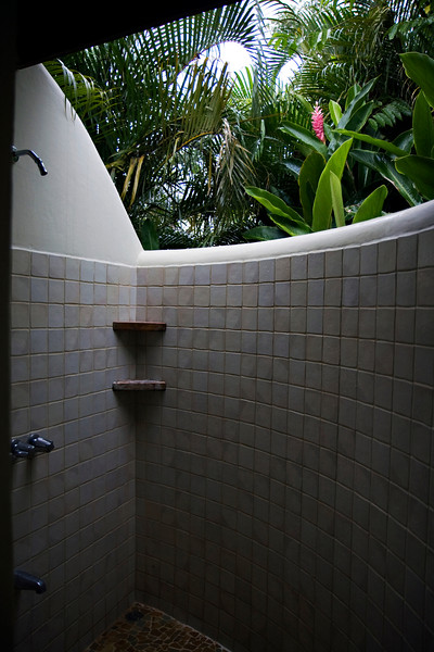 Our shower, opens up to the outside, pretty cool.  Some guests get frogs and lizards in the shower though.
