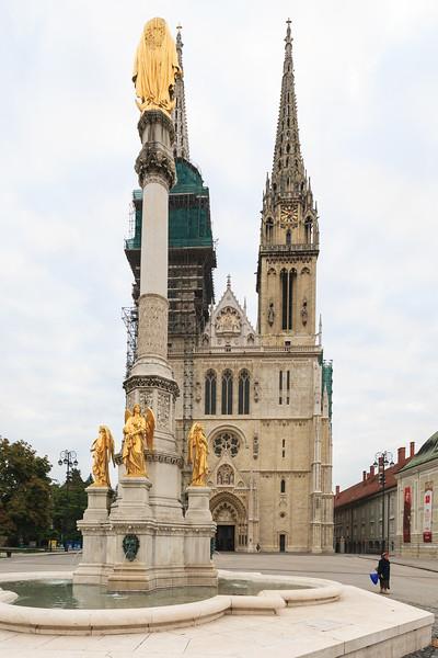 Morning Shot of the Zagreb Cathedral on Kaptol