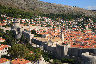 Looking at the Old Town Walled City in Dubrovnik  from  Fortress Lovrijenac