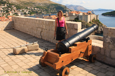 Melinda &  in the background, the Old Town Walled City in Dubrovnik  from  Fortress Lovrijenac