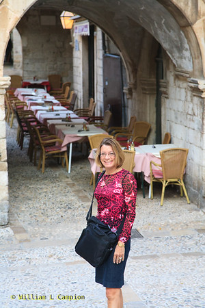 Melinda  on the street in Old Town Walled City in Dubrovnik