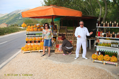 We shopped at a road side stay to buy some fruit and drink grappa