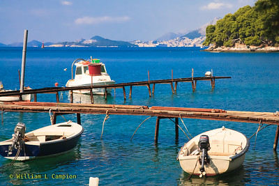 Looking  from the town of Cavtat to Dubrovnik on the horizon    (6.6 miles, at a heading of 315 degrees)
