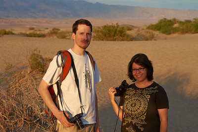 Ingo and Tara, sunset at the Mesquite Flat Sand Dunes