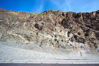 Badwater Basin, sea level sign way up on the mountain.
