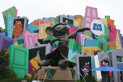 Micky Statue outside of the Monsters Inc ride in California Adventure