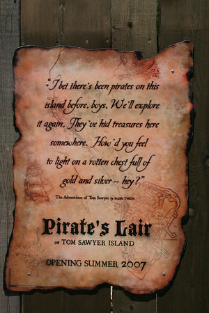 Pirates Lair under construction plaque