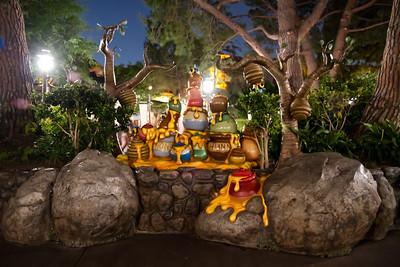 Pooh's Honeypots at night