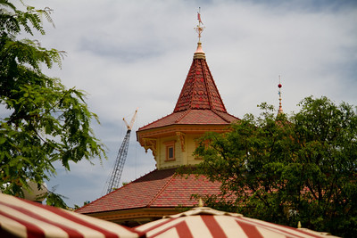 Crane out behind the Toy Story Midway Mania building
