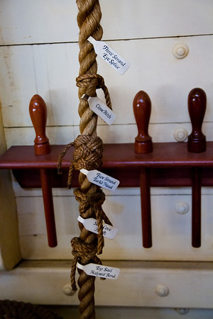 Samples of different types of knots in The Sailing Ship Columbia