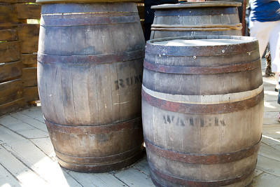 Barrels of Rum & Water at the top of the Pirates play area on Tom Sawyer's Island.