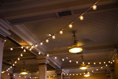 Lights inside the extended queue for Toy Story Midway Mania