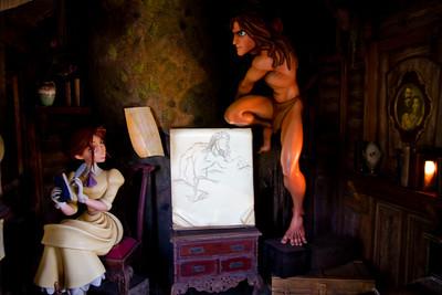 Tarzan's Treehosue scene with Jaine drawing Tarzan