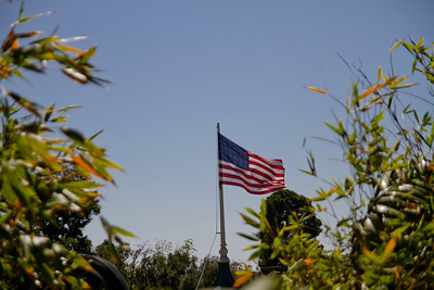 American Flag flying over New Orleans Square