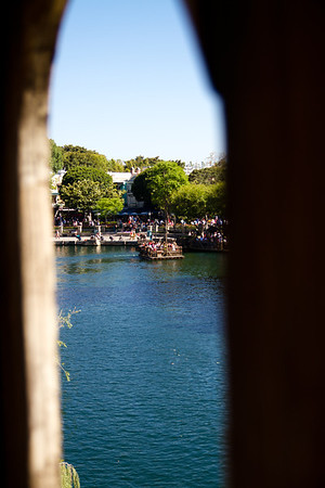 Looking at New Orleans Square from the highest point on Tom Sawyer's Island