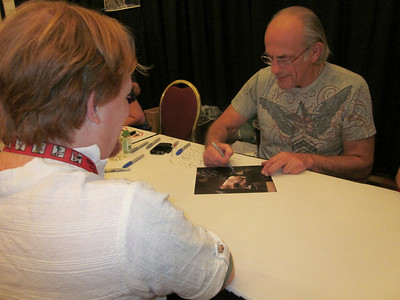 Steve getting Christopher Lloyd's autograph