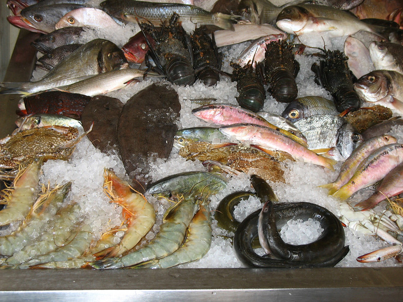 Fish on display at The Fish House restaurant in Hurghada.