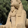 The ram-headed sphinxes represent God protecting the pharaoh.