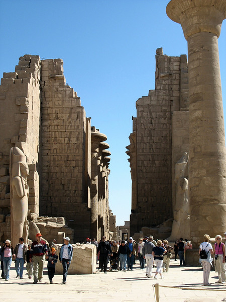Entrance to Karnak Temple. Construction began around 2,000 B.C. and continued through the reigns of 30 pharoahs for almost 900 years.