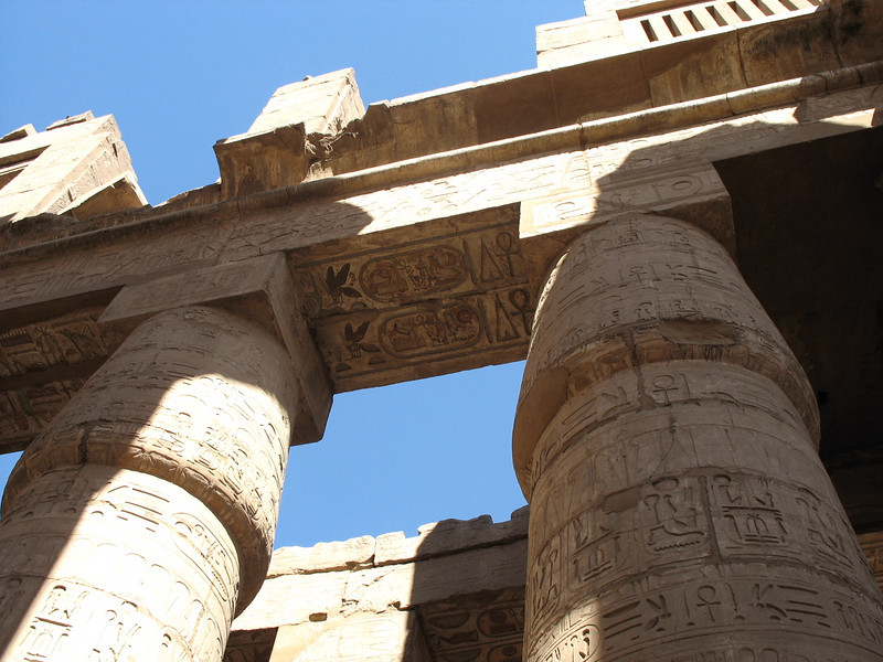 Well preserved hieroglyphics on top of these enormous pillars.