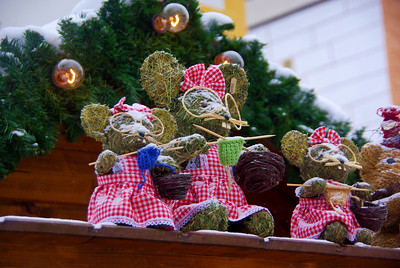 cute decorations on top of a Christmas Market stall