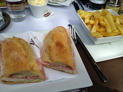 Ham sandwich and French fries