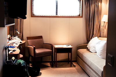 Dad's cabin on the Viking Legend, a bit smaller than our suites at the St Regis Rome and Hotel Danieli in Venice.