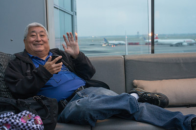 Dad relaxing at the outdoor Delta lounge at JFK
